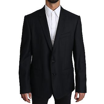 Blue patterned wool martini blazer