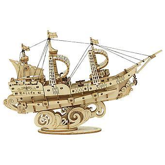 Manual DIY assembly of wooden ship model