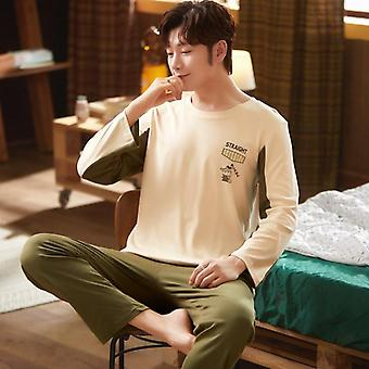 Autumn/spring Long Sleeve Pajama Sets, 100% Cotton Print Pajamas