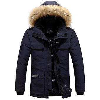 Vinter jackor Män Fur Varm Tjock Bomull Multi-pocket Hooded Parkas Casual