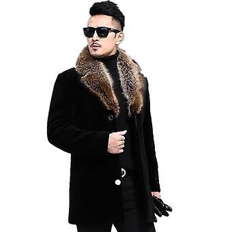 الخريف والشتاء معطف الصوف, الرجال & apos;ق واحد الثدي سميكة متوسطة الطول
