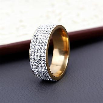 Vintage Retro Style Steel Ring Crystal Jewelry Fashion Stainless