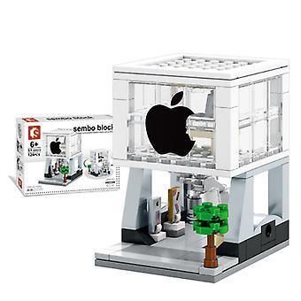 شارع المدينة متجر الهاتف المحمول بناء كتل نموذج لعبة للأطفال هدية صغيرة،