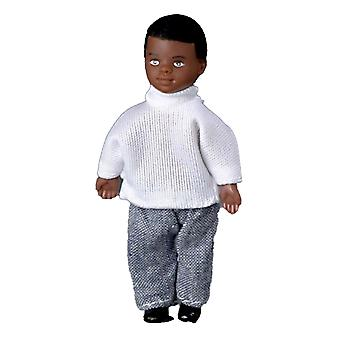 Dolls House Miniature 1:12 Scale People Black Little Brother Boy
