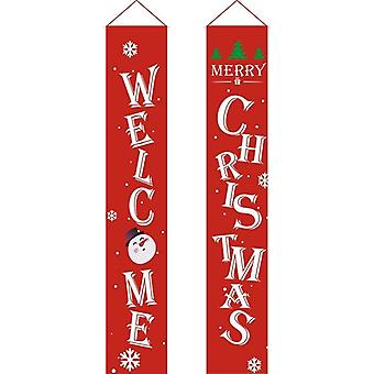 Merry Christmas Banner - Porch Fireplace Wall Signs Flag