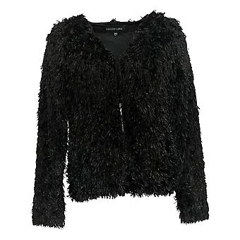 Colleen Lopez Women's Sweater Shaggy Fringe Cardigan Black 715-480