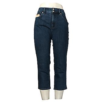 NYDJ Women's Jeans Cool Embrace Skinny Crop Side Slits - Lana Blue A377692