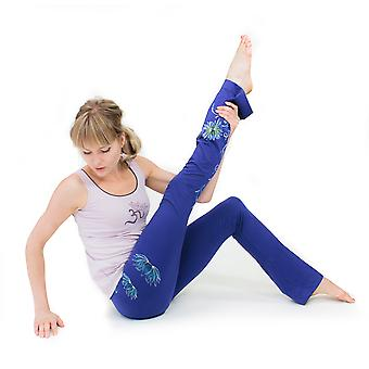 Lotus Yoga Pants - Hand Painted, Blue