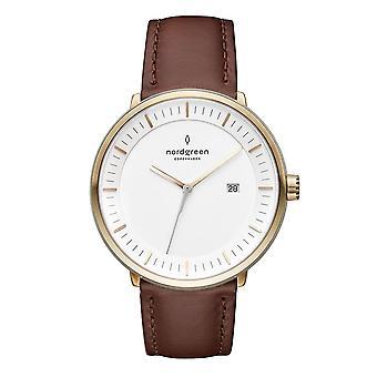 Nordgreen Unisex Philosopher Leather Gold 36mm Watch PH36GOLEDBXX