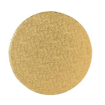 13&; (330mm) Cake Board Round Gold Fern - singiel