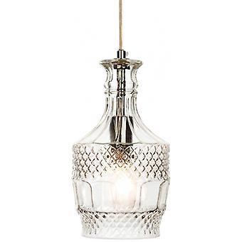 Lámpara Colgante Decanter 14 Cm, Cromo Y Vidrio.