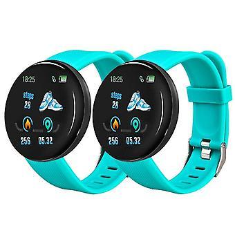 2pcs D18 Bluetooth Smart Watch Blood Pressure Tracker Pedometer Smart Watch