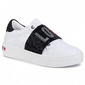 Sko Kvinne Kjærlighet Moschino Sneaker Hvitt Skinn / Svart Rhinestones Bunn Kassett D21mo06
