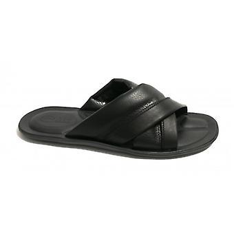 Men's Shoes Elite Ciabatta Cross-Banded Calfskin Col. Black Us18el19