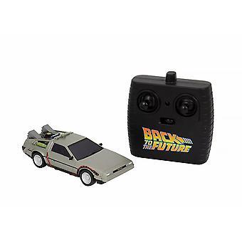 Zur3ck tulevaisuudessa DeLorean RC Vehicle Time Machine 1:32 Kauko-ohjattava malli, hopea, lahjakääreessä, KIRJOITTANUT NECA.