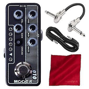 Mooer dos piedras micro preamplificador (m010) con cables y tela de microfibra