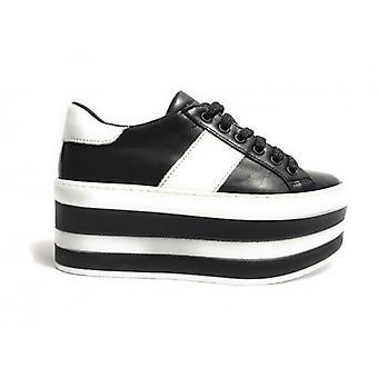 Обувь Женщина Тони Дикие Кроссовки Двойной Клин Кожа Черный & Белый D18tw17