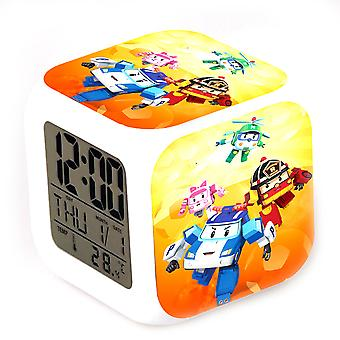 Robocar Poli Roy Led Electronic Colorful Thermometer Glowing Cube Alarm Clock