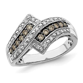 3/10 Carat (ctw) Champagne Diamond ByPass Ring in Sterling Silver