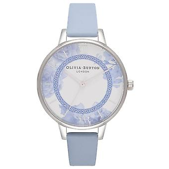 Olivia Burton Ob16tp02 Tea Party Demi Chalk Blue And Silver Leather Ladies Watch
