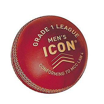 Gunn & Moore GM Cricket Icon Grade 1 League Ball Hand Stitched Leather - Vermelho