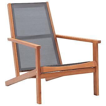 vidaXL Garden Lounge Chair Grey Eucalyptus Solid Wood and Textilene