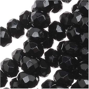Czech Fire Polished Glass, Donut Rondelle Beads 5x3mm 'Jet' Black (25)