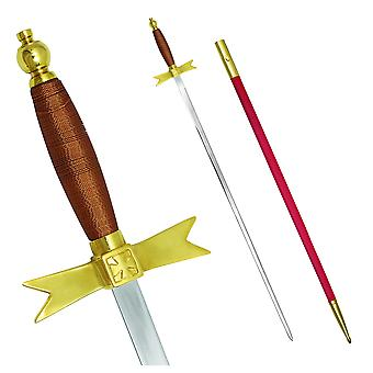 """Masonic knights templar sword with brown hilt and red scabbard 35 3/4"""" + free case"""