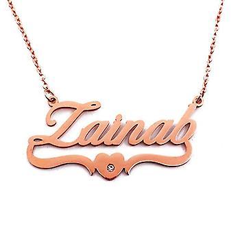 Kigu Zainab - Halsband med namn, hjärtform, pläterat i roséguld