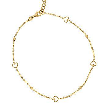 14 k Gelbgold Womens poliert Finish strukturierte Liebe Herz Perlen Fußkettchen Schmuck Geschenke für Frauen