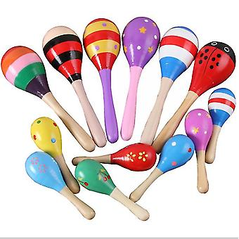 2Pcs s 11.5cm wooden color cartoon sand hammer toy for toddlers az6505