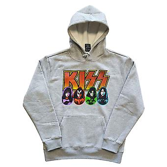 KISS Hoodie Band Logo Faces and Icons new Official Mens Grey Pullover