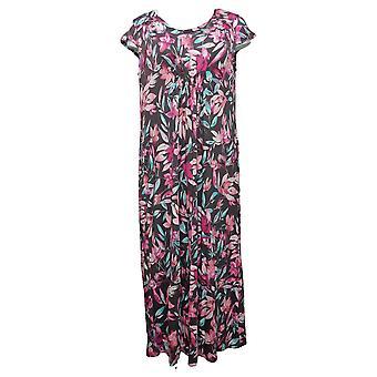 Carole Hochman Women's Floral Rayon Spandex Lounge Dress Set Brown A302176