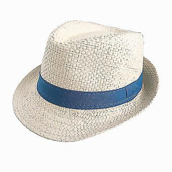 Children Sun Hat, Summer Beach Straw & Jazz Panama Trilby Fedora Cap(Beige)