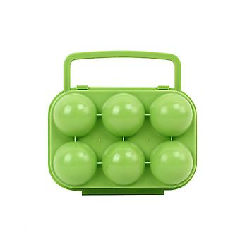 Portable Folding Handle Egg Carrier Holder Storage Box 6 Eggs Cases Container For Kitchen Outdoor (green)