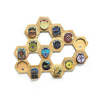 1pcs Medal Holder Display Honeycomb Combination Hexagonal Wooden Medal Stand Free Punch