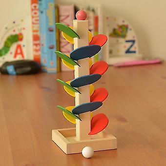 Einzigartige Holz Baum Blätter Blöcke Marmor Ball Run Track Spiel Spielzeug Pädagogisches Spielzeug