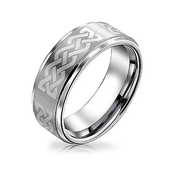 Simple Dome Negro Plata Dos Tonos Centro Rayas Parejas Titanium Wedding Band Ring 8MM