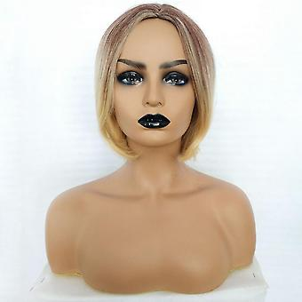 Black And Gold Natural Wig Colored Hairpiece Short Middle Parting