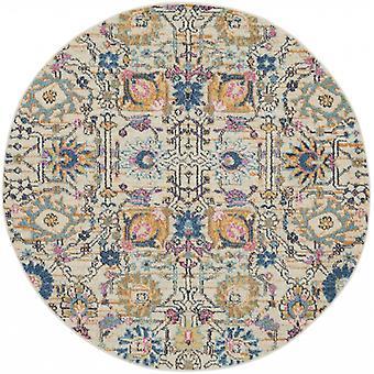 4 'Runder Elfenbein und Mehrfarbige Blumenknospen Area Teppich