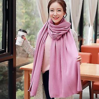 Női meleg kendő téli meleg nagy sál tiszta színű kasmír bőr rózsaszín
