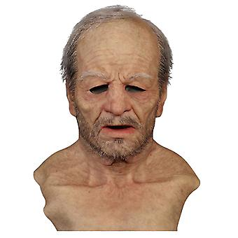 Halloween Adult Elder Man Latex Full Mask Couvre-visage Cosplay Couvre-chef