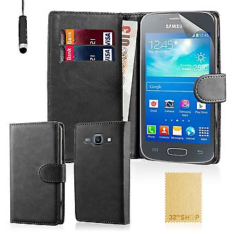Book wallet case for Samsung Galaxy Ace 3 S7270 + stylus - Black