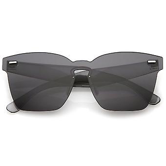 Oversize randlose Schlüsselloch Nase Brücke Mono Objektiv Horn umrandeten Sonnenbrille 63mm