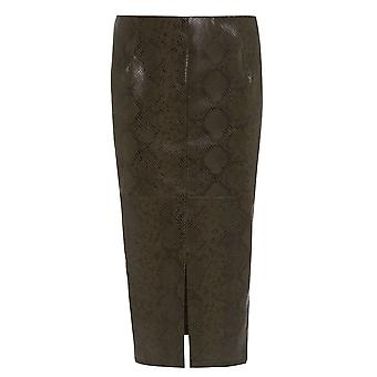 Ex River Island Snake Print Split Front Pencil Skirt
