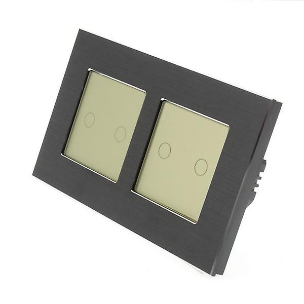 I LumoS Black Brushed Aluminium Double Frame 4 Gang 1 Way WIFI/4G Remote Touch LED Light Switch Gold Insert