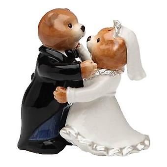 Bride and Groom Teddy Bear Wedding Salt and Pepper Shakers Set