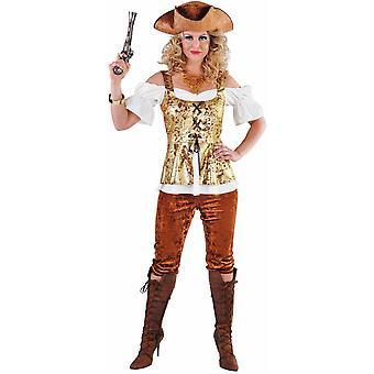 Vrouwen kostuums piraat Lady kostuum met gouden bruine broek