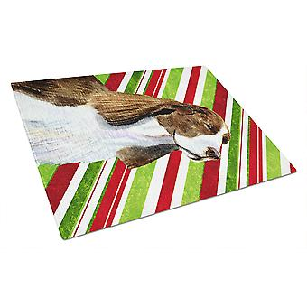 Springer Spaniel Candy Cane Holiday Christmas Glass Cutting Board Large