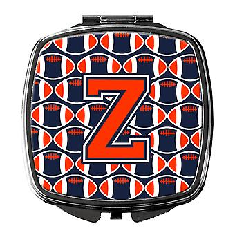 Letter Z Football Orange, Blue and white Compact Mirror